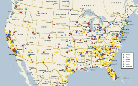 Map of 10,000 stores delivered during 2010 Census Independent Grocers Project